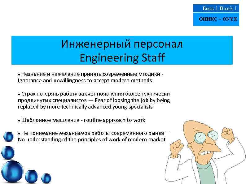 Блок 1 Block 1 ОНИКС – ONYX Инженерный персонал Engineering Staff Незнание и нежелание