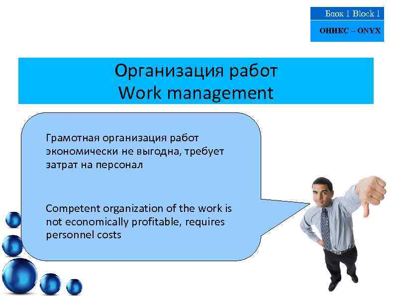 Блок 1 Block 1 ОНИКС – ONYX Организация работ Work management Грамотная организация работ