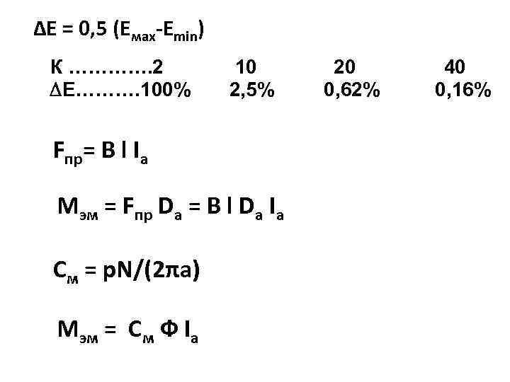 ∆Е = 0, 5 (Емах-Еmin) К …………. 2 ∆Е………. 100% 10 2, 5% Fпр=