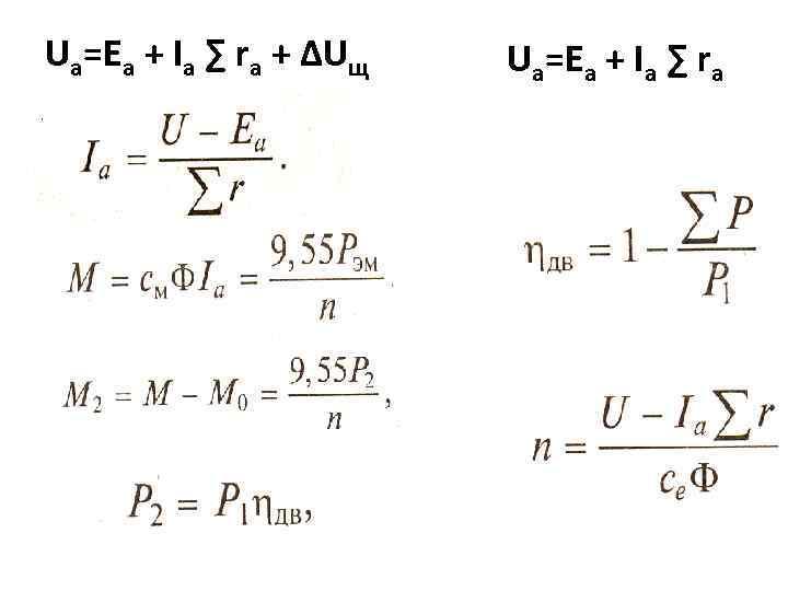 Ua=Ea + Iа ∑ rа + ∆Uщ Ua=Ea + Iа ∑ rа
