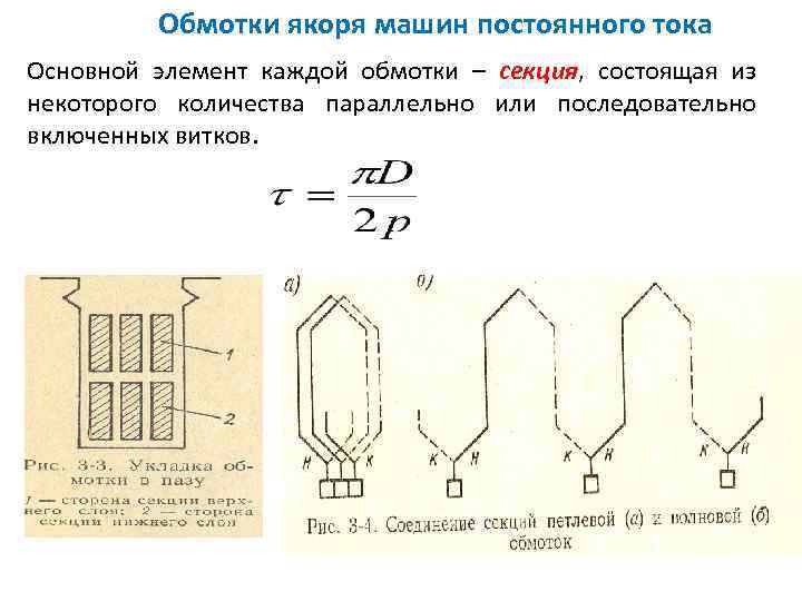 Обмотки якоря машин постоянного тока Основной элемент каждой обмотки – секция, состоящая из некоторого
