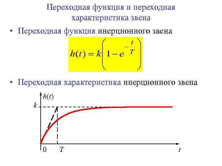 Переходная функция и переходная характеристика звена • Переходная функция инерционного звена • Переходная характеристика