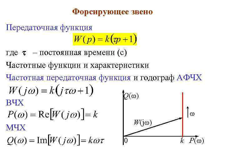 Форсирующее звено Передаточная функция где – постоянная времени (с) Частотные функции и характеристики Частотная
