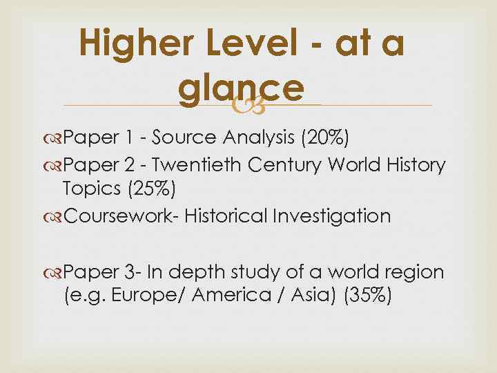 history route 2 hl and sl Choose hl/sl for history, biology, or chemistry spanish ab initio must be taught over 2 school years and your exam would be in may 2020, giving you 5 or 6 exams in may.