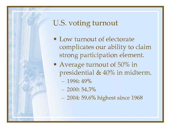 U. S. voting turnout • Low turnout of electorate complicates our ability to claim