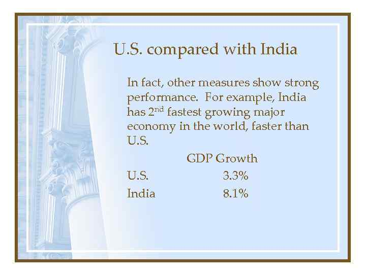 U. S. compared with India In fact, other measures show strong performance. For example,