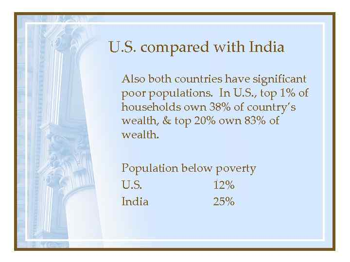 U. S. compared with India Also both countries have significant poor populations. In U.