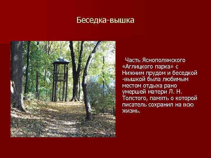 Беседка вышка Часть Яснополянского «Аглицкого парка» с Нижним прудом и беседкой вышкой была любимым