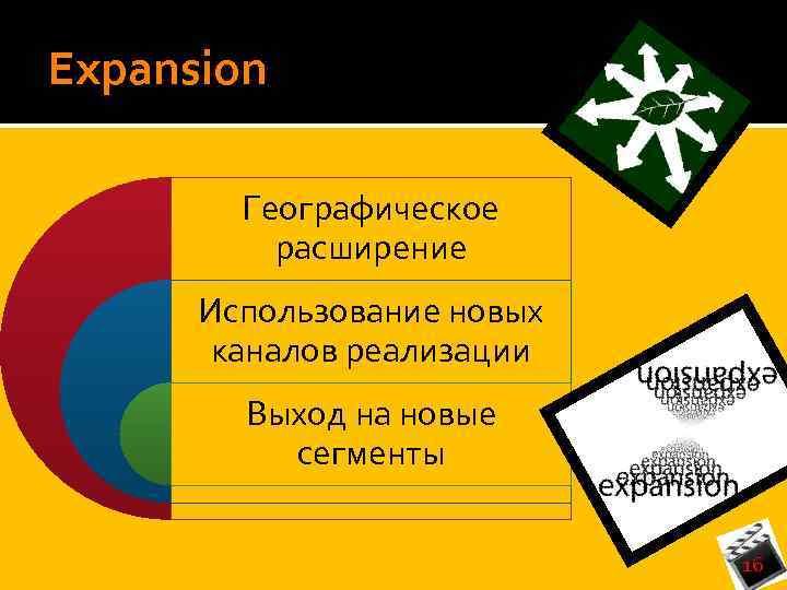 Expansion Географическое расширение Использование новых каналов реализации Выход на новые сегменты 16
