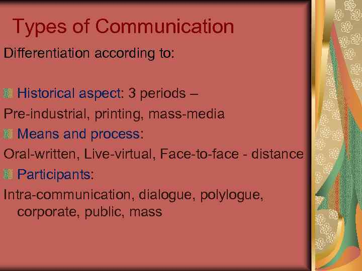 Types of Communication Differentiation according to: Historical aspect: 3 periods – Pre-industrial, printing, mass-media