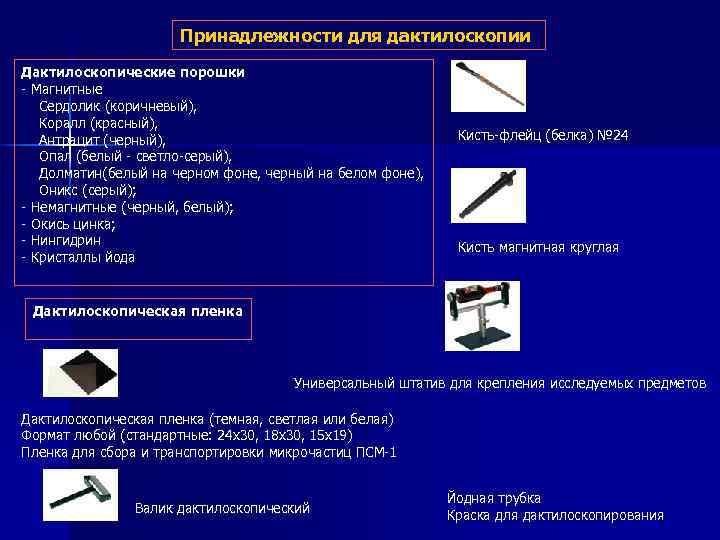 Принадлежности для дактилоскопии Дактилоскопические порошки - Магнитные Сердолик (коричневый), Коралл (красный), Антрацит (черный), Опал