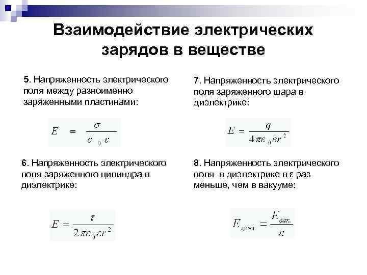 Взаимодействие электрических зарядов в веществе 5. Напряженность электрического поля между разноименно заряженными пластинами: 7.