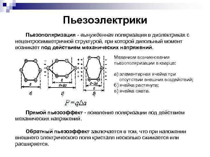 Пьезоэлектрики Пьезополяризация - вынужденная поляризация в диэлектриках с нецентросимметричной структурой, при которой дипольный момент