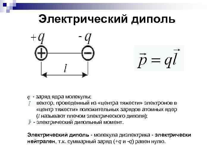 Электрический диполь q - заряд ядра молекулы; - вектор, проведенный из «центра тяжести» электронов