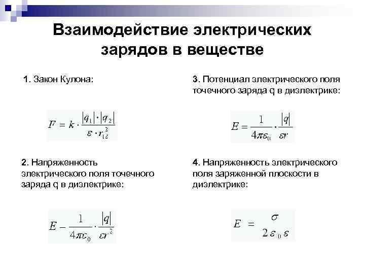 Взаимодействие электрических зарядов в веществе 1. Закон Кулона: 3. Потенциал электрического поля точечного заряда