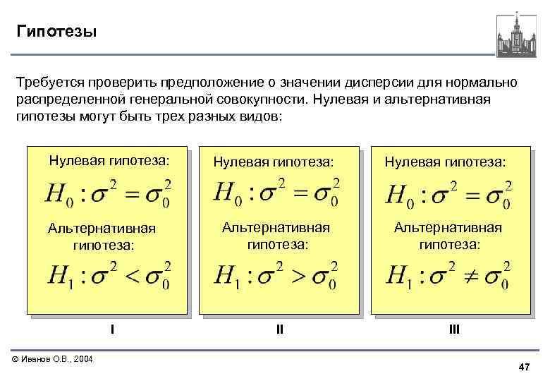 Гипотезы Требуется проверить предположение о значении дисперсии для нормально распределенной генеральной совокупности. Нулевая и