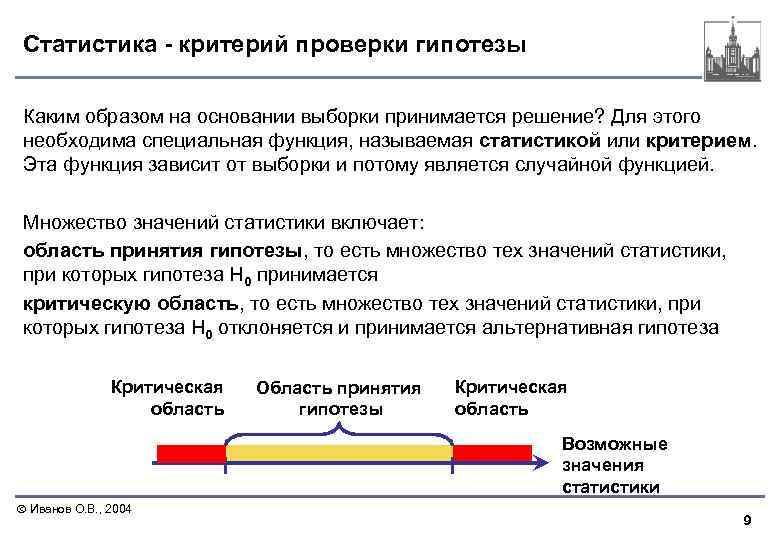 Статистика - критерий проверки гипотезы Каким образом на основании выборки принимается решение? Для этого