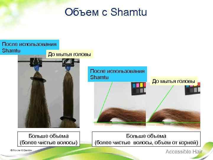 Объем с Shamtu После использования Shamtu До мытья головы После использования Shamtu Больше объема