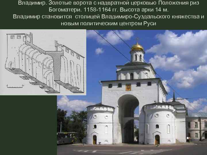 Владимир. Золотые ворота с надвратной церковью Положения риз Богоматери. 1158 -1164 гг. Высота арки