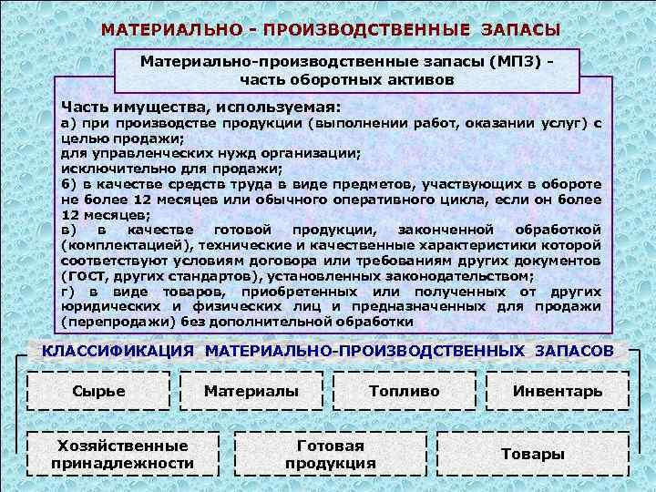 МАТЕРИАЛЬНО - ПРОИЗВОДСТВЕННЫЕ ЗАПАСЫ Материально-производственные запасы (МПЗ) часть оборотных активов Часть имущества, используемая: а)