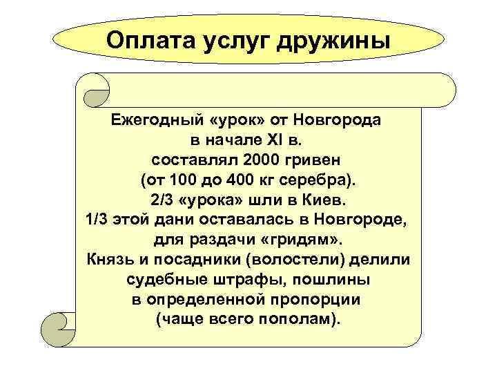 Оплата услуг дружины Ежегодный «урок» от Новгорода в начале XI в. составлял 2000 гривен