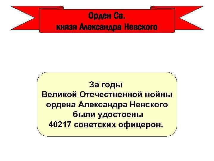 Орден Св. князя Александра Невского За годы Великой Отечественной войны ордена Александра Невского были