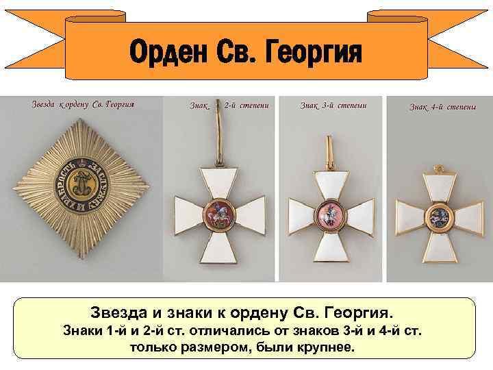 Орден Св. Георгия Звезда и знаки к ордену Св. Георгия. Знаки 1 -й и
