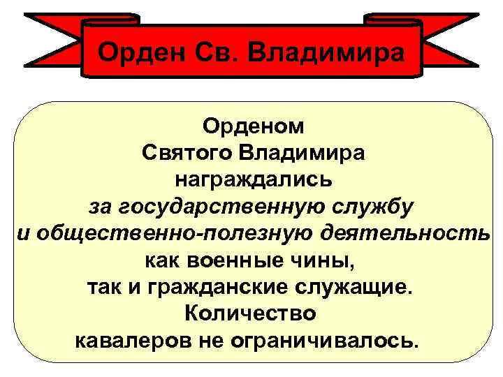 Орден Св. Владимира Орденом Святого Владимира награждались за государственную службу и общественно-полезную деятельность как