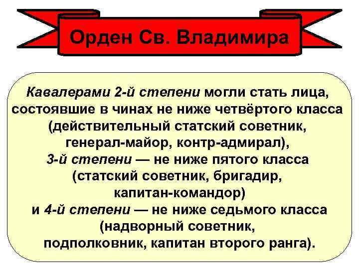 Орден Св. Владимира Кавалерами 2 -й степени могли стать лица, состоявшие в чинах не