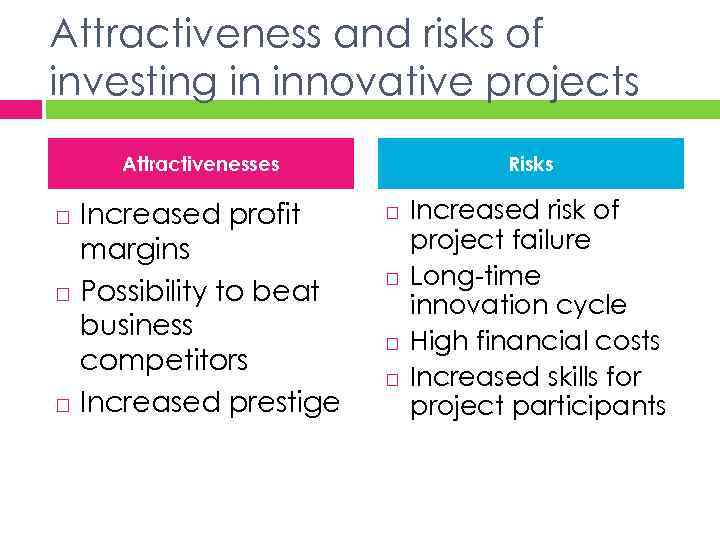 Attractiveness and risks of investing in innovative projects Attractivenesses Increased profit margins Possibility to