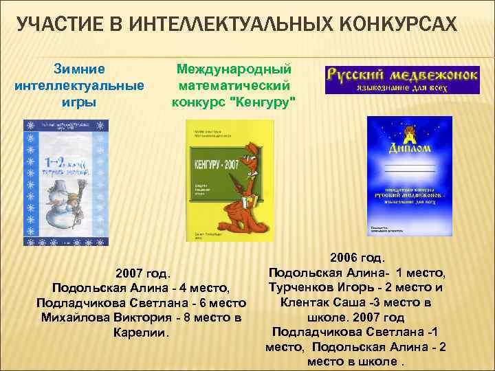 УЧАСТИЕ В ИНТЕЛЛЕКТУАЛЬНЫХ КОНКУРСАХ Зимние интеллектуальные игры Международный математический конкурс