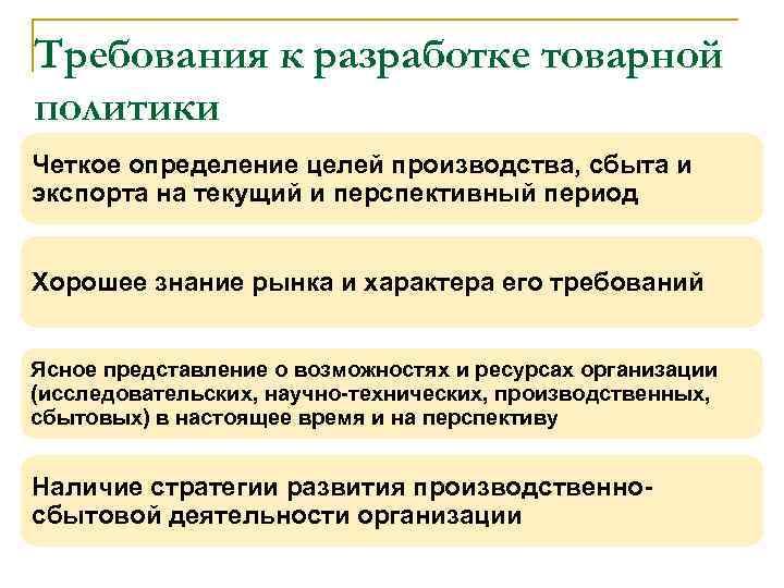 Требования к разработке товарной политики n Четкое определение целей производства, сбыта и экспорта на