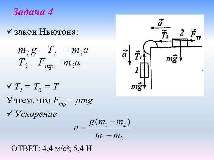 Задача 4 ü закон Ньютона: m 1 g – T 1 = m 1