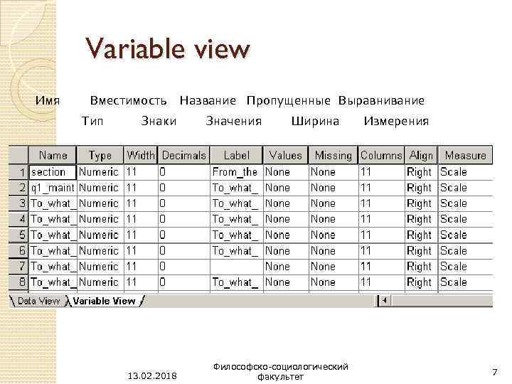 Variable view Имя Вместимость Тип Знаки 13. 02. 2018 Название Пропущенные Выравнивание Значения Ширина