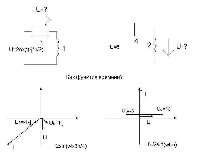 U=5 U=2 exp(-j*п/2) Как функция времени? I UC=10 UL=-5 Ur=-1 -j UL=1 -j U