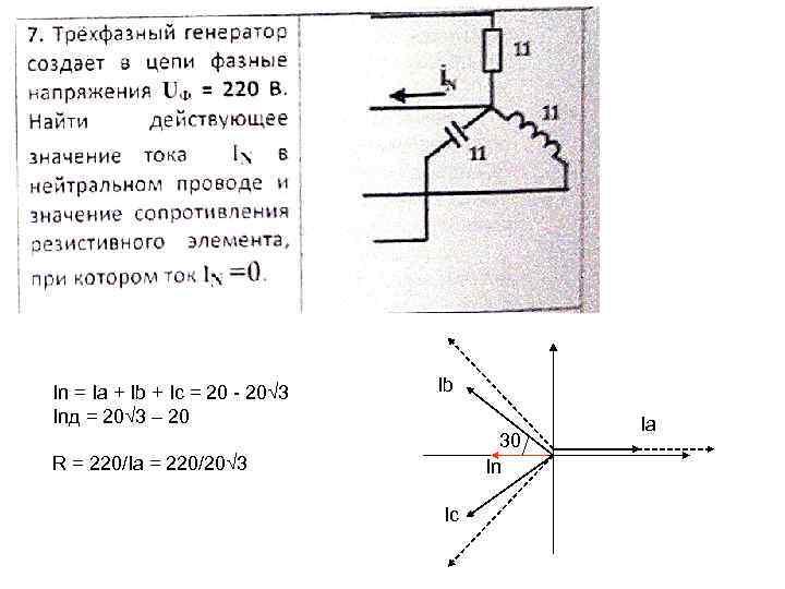In = Ia + Ib + Ic = 20 - 20√ 3 Inд =
