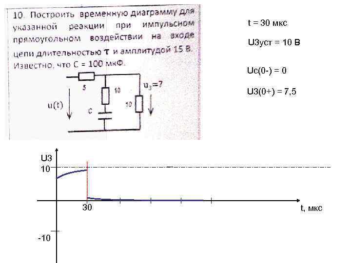 t = 30 мкс U 3 уст = 10 В Uc(0 -) = 0