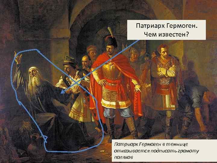 Патриарх Гермоген. Чем известен? Патриарх Гермоген в темнице отказывается подписать грамоту поляков