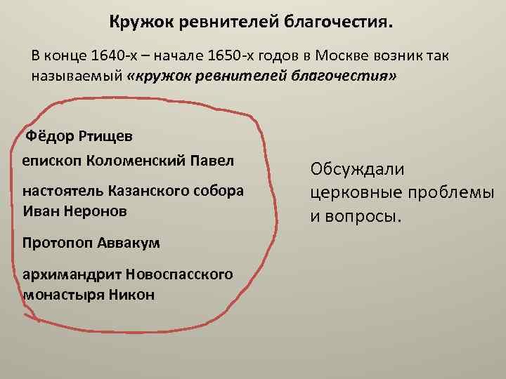 Кружок ревнителей благочестия. В конце 1640 -х – начале 1650 -х годов в Москве
