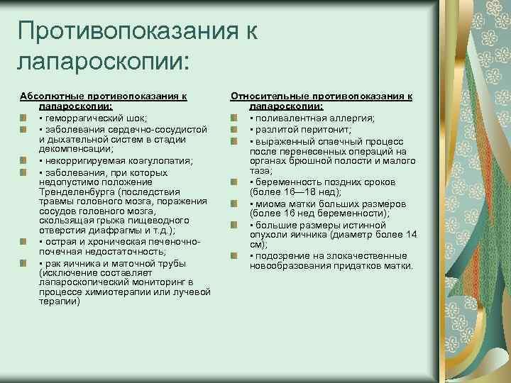 Противопоказания к лапароскопии: Абсолютные противопоказания к лапароскопии: • геморрагический шок; • заболевания сердечно сосудистой