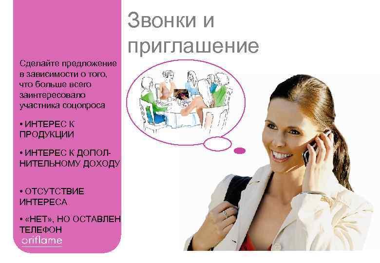 Звонки и приглашение Сделайте предложение в зависимости о того, что больше всего заинтересовало участника
