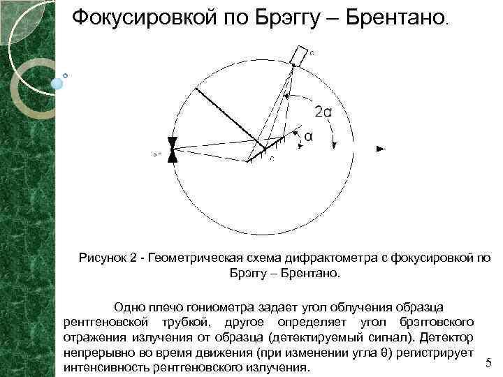 Фокусировкой по Брэггу – Брентано. Рисунок 2 - Геометрическая схема дифрактометра с фокусировкой по