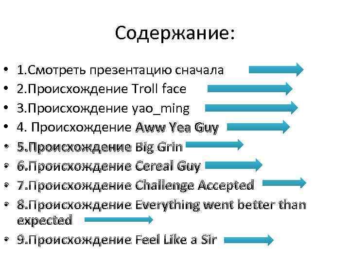 Содержание: 1. Cмотреть презентацию сначала 2. Происхождение Troll face 3. Происхождение yao_ming 4. Происхождение