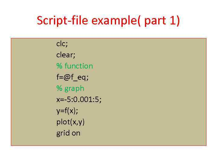 Script-file example( part 1) clc; clear; % function f=@f_eq; % graph x=-5: 0. 001: