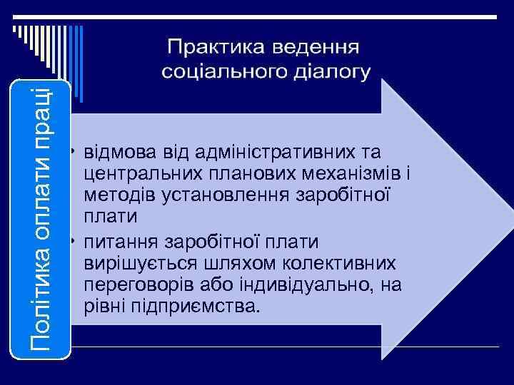 Політика оплати праці • відмова від адміністративних та центральних планових механізмів і методів установлення