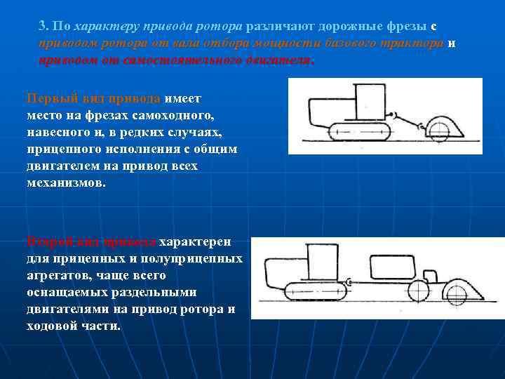 3. По характеру привода ротора различают дорожные фрезы с приводом ротора от вала отбора