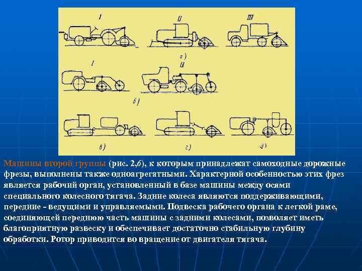 Машины второй группы (рис. 2, 6), к которым принадлежат самоходные дорожные фрезы, выполнены также