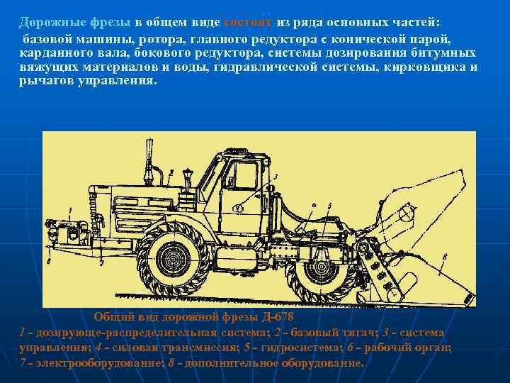 Дорожные фрезы в общем виде состоят из ряда основных частей: базовой машины, ротора, главного