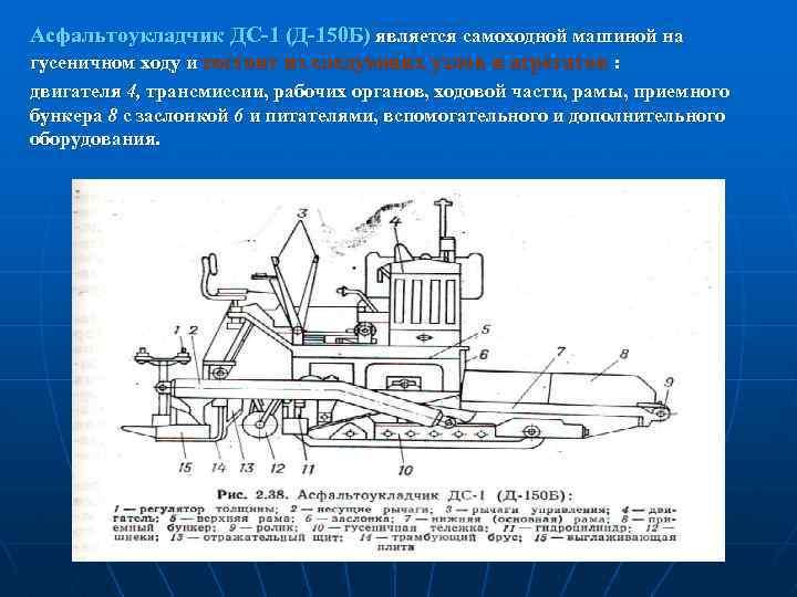 Асфальтоукладчик ДС-1 (Д-150 Б) является самоходной машиной на гусеничном ходу и состоит из следующих