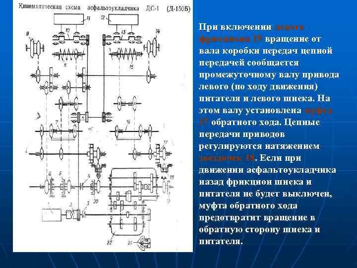 При включении левого фрикциона 19 вращение от вала коробки передач цепной передачей сообщается промежуточному